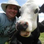 Such cruisy and relaxed cows. You can cuddle up with them and hug them. I swear she was sticking her tongue out...